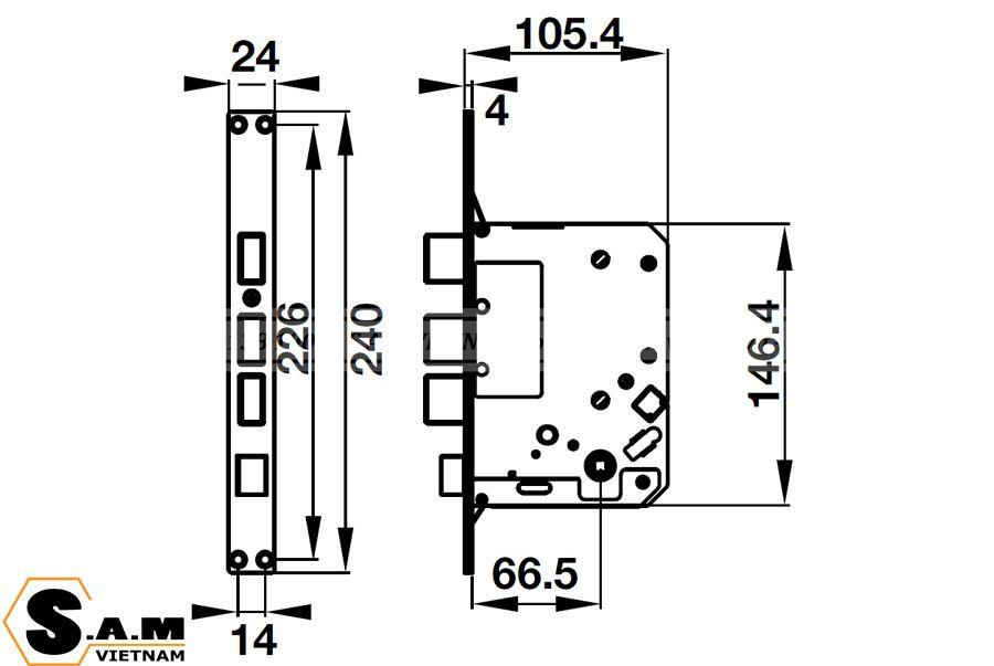 Kích thước thân khóa lớn Khóa vân tay Hafele EL7700-TCS