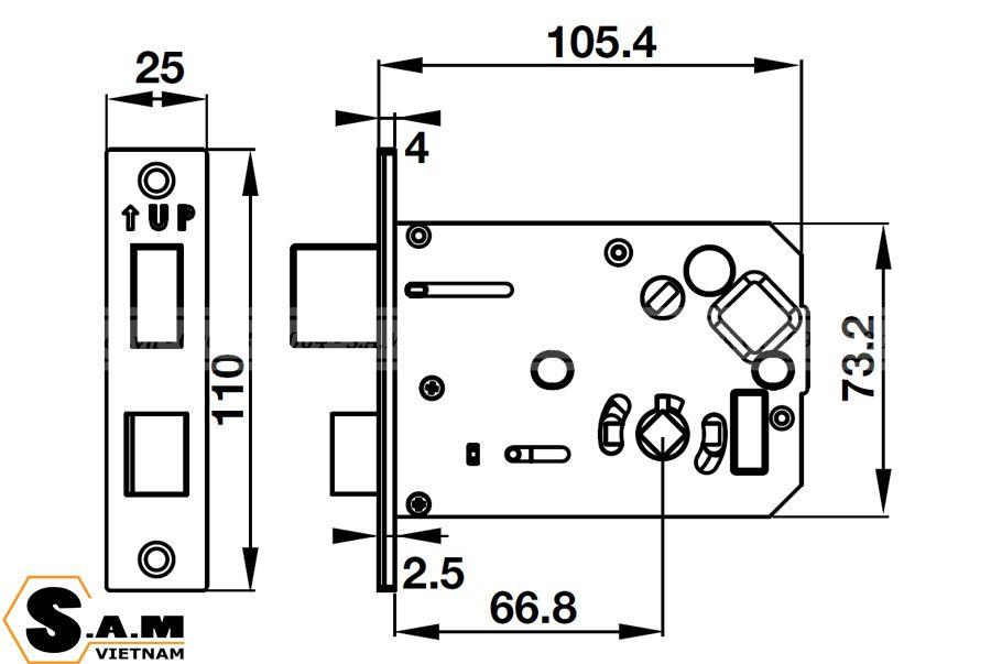 Kích thước thân khóa nhỏ Khóa vân tay Hafele EL7700-TCS