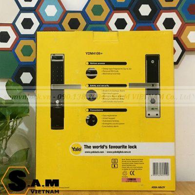 Hộp sản phẩm Khóa vân tay YALE YDM 4109+ BLACK mặt sau