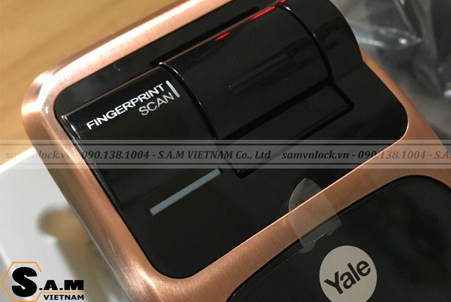 Cảm biến vây tay trên Yale YMG 40 Red Bronze (Đồng) công nghệ sinh trắc học