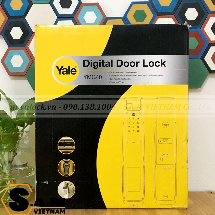Hộp đóng gói Khóa vân tay Yale YMG 40 Satin-Nickel (Bạc)