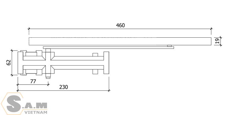 Tay đẩy hơi âm VICKINI 44080.001 SPR (60kg)