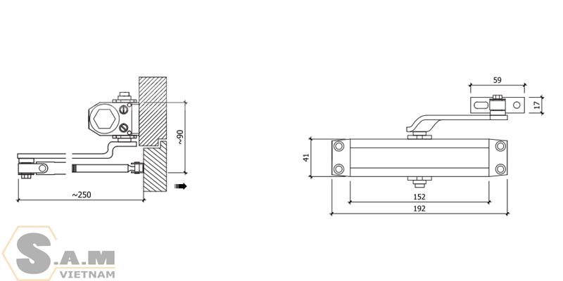 Tay đẩy hơi VICKINI 44073.001 (100kg)