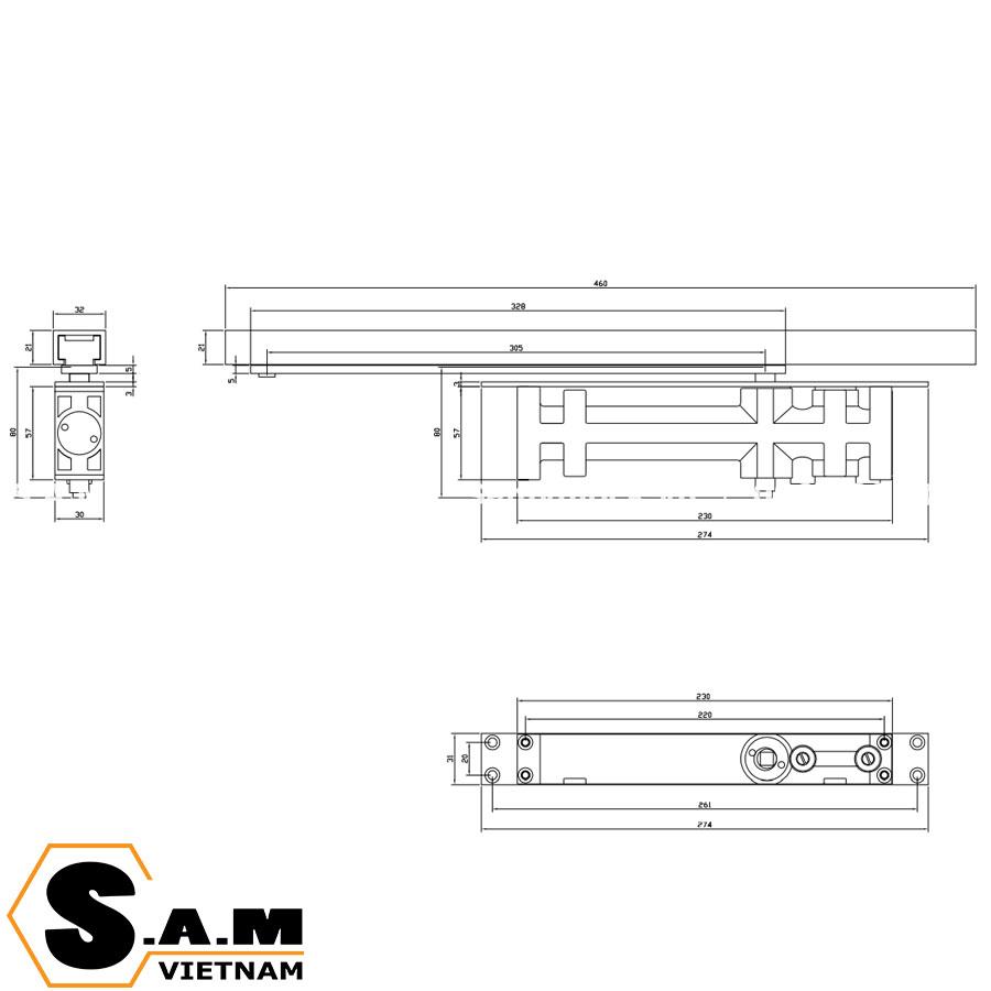 Tay đẩy hơi âm Vickini 44080.001 SPR cho cửa nặng 40-65kg