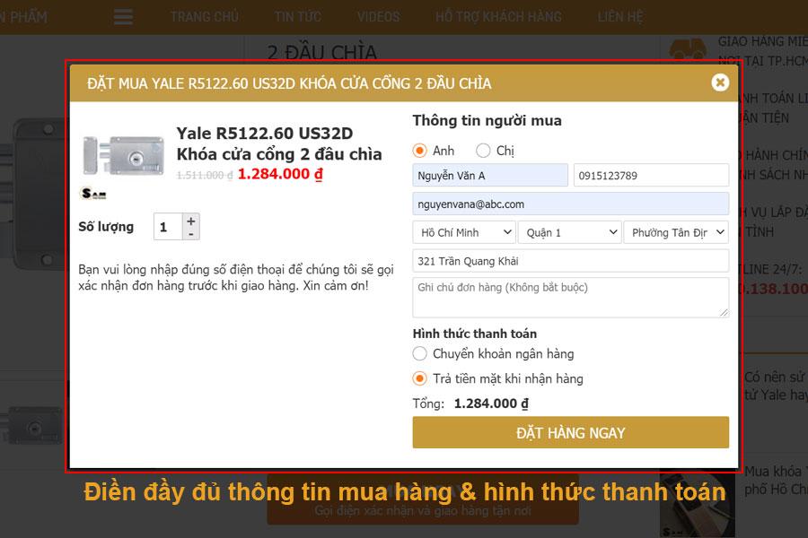 Quy trình mua hàng tại Samvnlock.vn