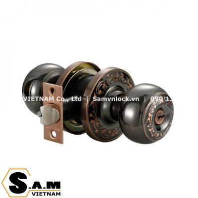 Khóa cửa nắm tròn Vickini 30856.001 BN/AC màu đen nâu